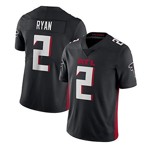 SFVE Atlanta Falcons Matt Ryan 2# Rugby-Trikot USA-Fußballtrikot für Herren, Bequeme schnell trocknende Sportbekleidung, kurzärmelige Baumwolle, geeignet für Rugby-Wettkämpfe-black-3XL