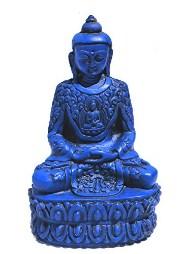 mytibetshop Meditating Buddha for Home, Blue Buddha Statue, Buddha Statue for Home and Alter, Hand Painted by Himalayan Artisan in Nepal