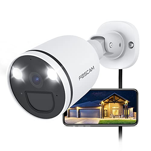 Foscam 2K/4 MP Überwachungskamera Aussen mit Spotlight, 2,4G/5G Wlan Wifi IP Kamera mit Farbige Nachtsicht, 2-Wege-Audio, Bewegungserkennung + PIR, AI-Personenerkennung, IP66 Wasserdicht Outdoor Kamera