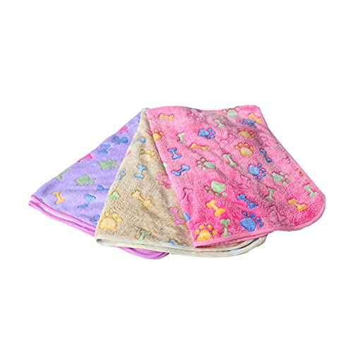 Manta para perros AISHNA, 3 piezas, manta para gatos, perros, lavable, para perros pequeños, medianos y pequeños, 60 x 40 cm