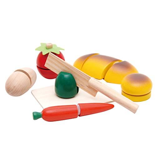 STOBOK coupe en bois cuisine ensembles de nourriture faire semblant jouer cuisine jouet cadeaux d'anniversaire pour les tout-petits enfants