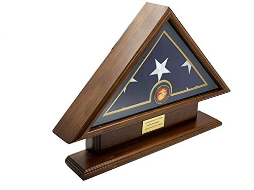 DECOMIL 5x9 with Base, Marine, Brown Burial/Funeral/Veteran Flag Elegant Display Case, Solid Wood, Walnut Finish (5x9 with Base, Brown)