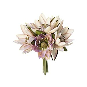 "Sweet Home Deco 9"" Silk Lotus Flower Bouquet (6 Stems/6 Flower Heads) for Wedding Home Decoration"