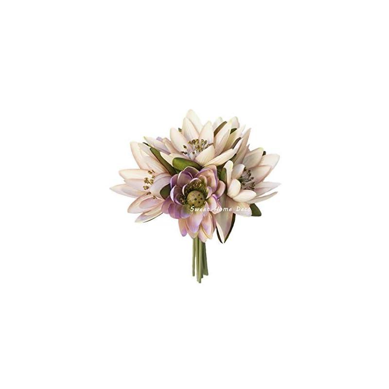 silk flower arrangements sweet home deco 9'' silk lotus flower bouquet (6 stems/6 flower heads) for wedding home decoration