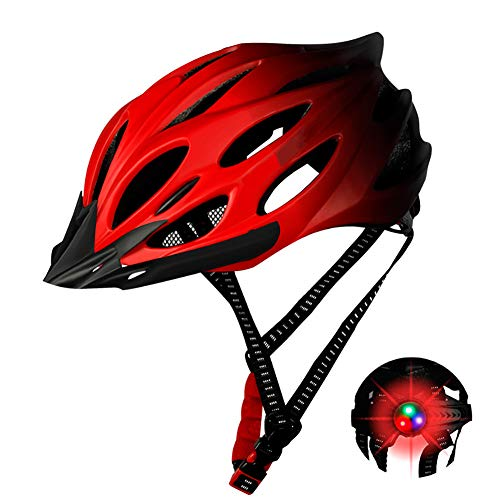 DYOYO Bike Helmet CE Certified with Detachable Visor, Mountain Road Bicycle Helmets with Adjustable LED Light,Cycling Helmet with Breathable Comfortable Lining for Men Women 52-56cm