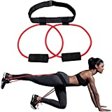 Huacmoet Booty Bands with Adjustable Belt, Fitness Booty Bands Power Butt Exercise, Resistance Band Muscle Waist Belt - Workout Loop Ladies Elastic Muscles Trainer Fitness Body Glute Lifter Exercise