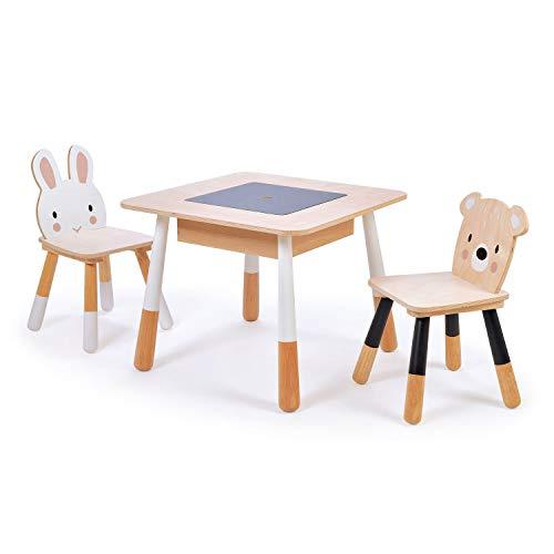 Tender Leaf - Juego de mesa y sillas forest, 116 x 56 x 51,5 cm, mesa con un compartimento oculto bajo un panel central de lápices, 2 sillas, de madera, en caja de 63,5 x 63,5 x 14 cm, 3+