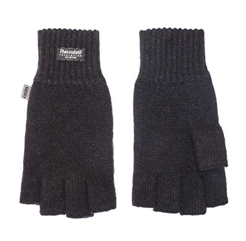 EEM Damen Halbfinger Strickhandschuhe KLARA mit Thinsulate Thermofutter aus Polyester, Strickmaterial aus 100% Wolle; schwarz, L