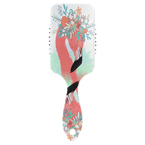 CUTEXL Women Hair Brush Watercolor Floral Flower Animal Flamingo Air Cushion Comb Anti Frizz Static Snag Tangle Massage Scalp Hairbrush for Curly or Straight Hair