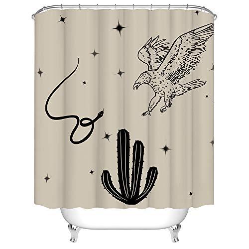 Rustikaler Wüsten-Duschvorhang Adler Schlange Kaktus Sterne Tier Pflanze Badvorhang Unisex Retro Stoff Vorhang für Badezimmer Dekor mit Haken 183 cm × 183 cm Beige Schwarz
