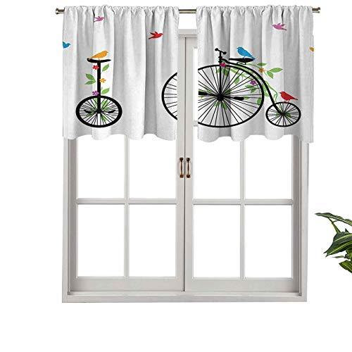 Hiiiman Cortinas para tratamiento de ventana, con bolsillo para barra, pájaros voladores, flores en bicicletas antiguas, juego de 1, paneles opacos decorativos para el hogar de 127 x 45 cm