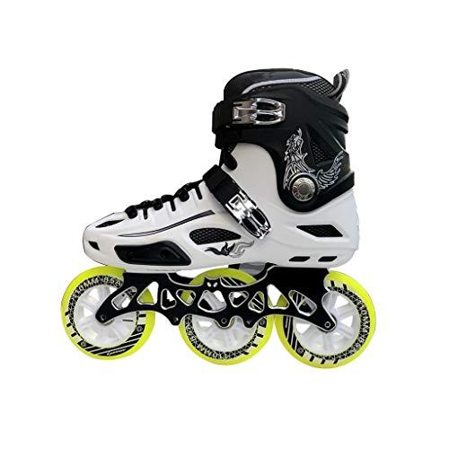 Sljj Inline Skates, 3 Wheel 110MM Wheels Adult Single Row Skates Full Flash Skates Black and White Yellow Wheel (Color : A, Size : EU 43/US 10/UK 9/JP 26.5cm)