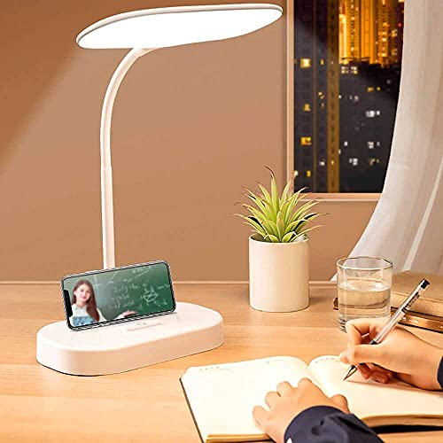 LED Desk Lamps for Home Office, 3 Modes Desk Lamp for College Dorm Room, Battery Operated Desk Lamp with USB Charging Port ,White Desktop Lamp LED Desk Light for Home Office Lighting