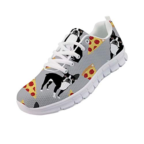 chaqlin Bulldog Pizza Druck Frauen Männer Sneaker Laufen Sportschuhe Outdoor Tennis Schuhe Junge Mädchen Schule Mode Jogging Walking Größe UK6-Eur38