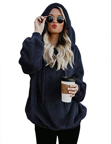 iWoo Veste duveteuse, décontractée, en peluche, couleur unie, manches longues, à capuche, pour femme, bleu marine, taille L