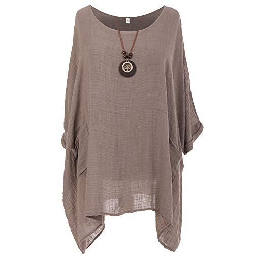 Storm Island Tunika-Kleid für Damen, italienisches Baumwoll-Top im Lagenlook, einfarbig Gr. 52-54, mokka