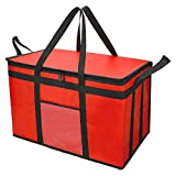 Food Delivery Bag for Uber Eats, Insulated Grocey Shopping Bag for Catering, Large, Red