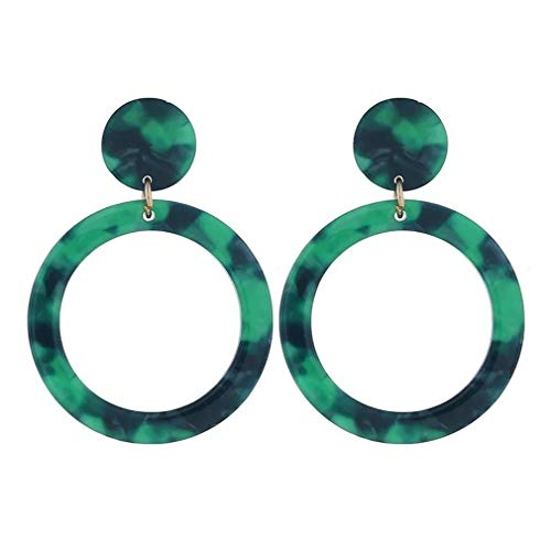 Hengxing Acryl baumeln Creolen böhmischen Harz geometrische Runde Kreis Drop Stud Ohrring, grün