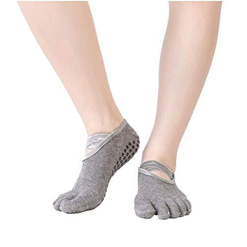 Calcetines de yoga de algodón puro Mujeres que no resbalan cinco dedo Pilates calcetines para el deporte (Color : Gray, Size : EUR 35 40 US 4.5 8.5)