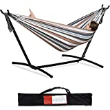 PNAEUT Double Hammock with Space Saving Steel Stand Included 2 Person Heavy Duty Outside Garden Yard Outdoor 450lb Capacity 2 People Standing Hammocks and Portable Carrying Bag (Coffee)
