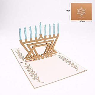 3D Pop Up Card - 3D Hanukkah postcards Chanukah pop up greeting card Festival laser cut with envelope hollow carved handmade kirigami gifts