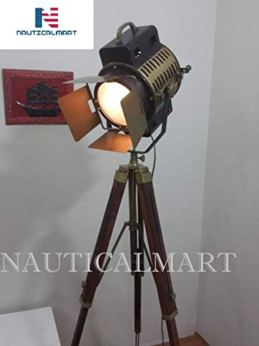 Vintage Studio Theater Spot Light Designer Antique Tripod Search Light Spot Lamp