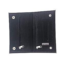 Tabaktasche Ciggy Jumper® im Premium Used Leather Style mit Single, doppel oder Langen Blättchen Fach, Tabak-Beutel Drehertasche mit Filterfach Blättchenhalter div. Farben (Double Black)