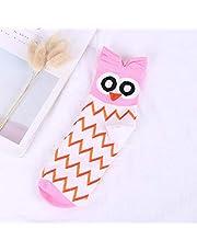 TINGS HarajukuSocks Women Cotton Cartoon Cute Animal Owl Dot Print Happy Funny Socks Casual Middle Tube Autumn Winter Hip Hop,4,One Size