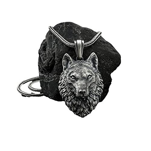 PINKPEGASUS Collar con colgante de cabeza de lobo de hip hop para hombre y mujer, joyería de Navidad, regalo de cumpleaños negro