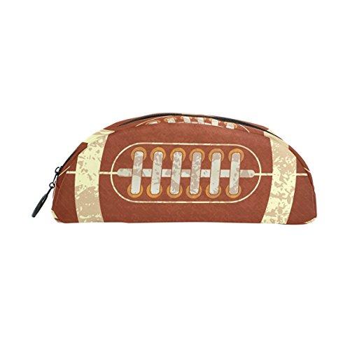 Federmäppchen in American Football-Optik von Bennigiry - halbrund, großer Stauraum für Schreibwaren, Stifttasche, Mäppchen mit Reißverschluss