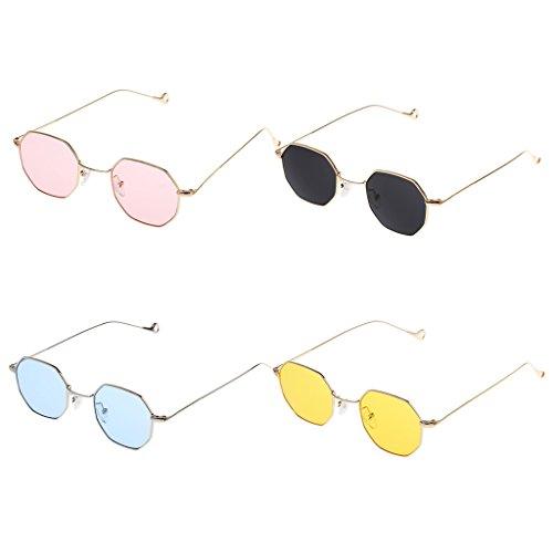 Sharplace Gafas De Sol De 4 Piezas Para Mujer, Gafas De Sol Octogonales, Montura De Metal, Lentes De Espejo Retro