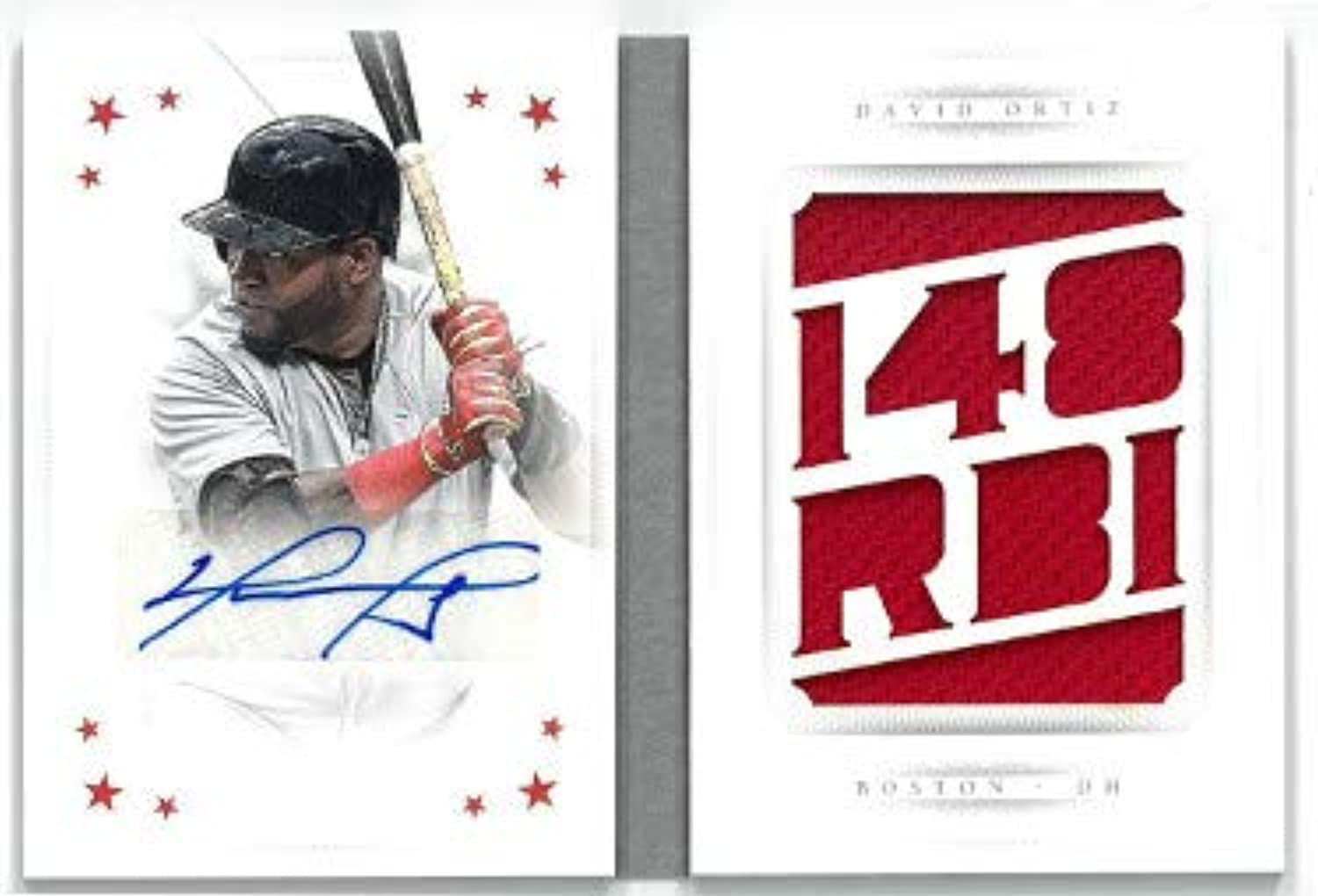 David Ortiz signed Boston Red Sox 2016 Panini National Treasures dual Sig Game Used Material Baseball Card LTD 2 10 SBMSDO