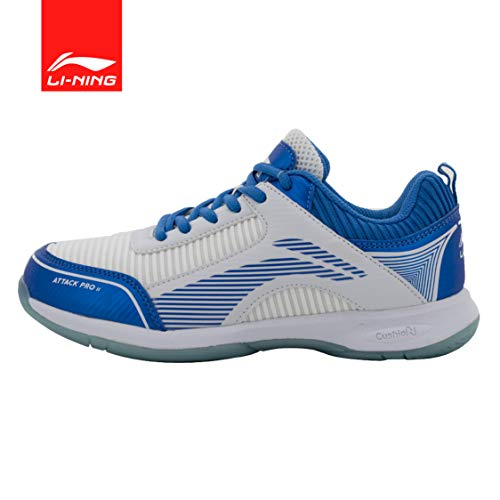 Li-Ning Attack Pro II Badminton Shoes (White/Blue) UK 9