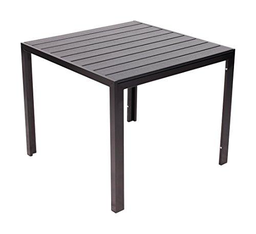 Vanage Helsinki mesa de aluminio con acabado de madera mesa de negro la parte superior, de unos 90 x 90 cm