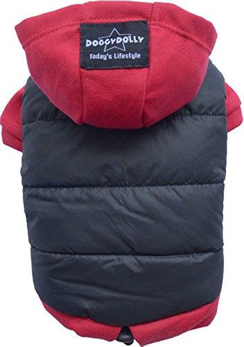 Doggy Dolly W110 Hundejacke Wasserabweisend mit Kapuze, schwarz/rot, Wintermantel / Winterjacke, Größe : M
