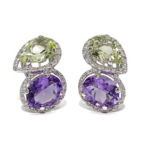 Pendientes de diamantes de 0.38cts y amatistas naturales verdes y moradas. Cierre omega 2.10cm de altos
