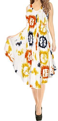 LA LEELA codzienna niezbędna krótka sukienka plażowa dla kobiet bikini Caftan tanktanktank/tunika na co dzień mini odzież ciążowa bez rękawów impreza sukienka przeciwsłoneczna plus rozmiar duża hawajska sukienka A262