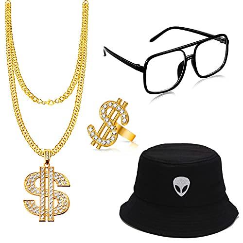 Juego de disfraz de hip hop, cadena dólar, gafas de sol, anillo de oro del signo del dólar, sombrero de bucket de los años 80 y 90, accesorio para fiestas