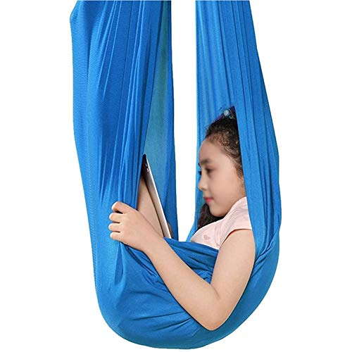 MTFZD Sensory Swing Hammock Home Kids Swing Parachute Cloth Aerial Yoga Hammock For Indoor Outdoor Chair Child Load Up To 440 LBS (Color : Blue, Size : 150 * 280CM/59 * 110in)
