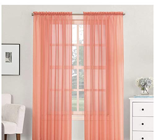 """Sheer 1PC Panel Elegant Voile Window Curtains 84"""" for Bedroom/Kitchen (Peach, 52x84)"""