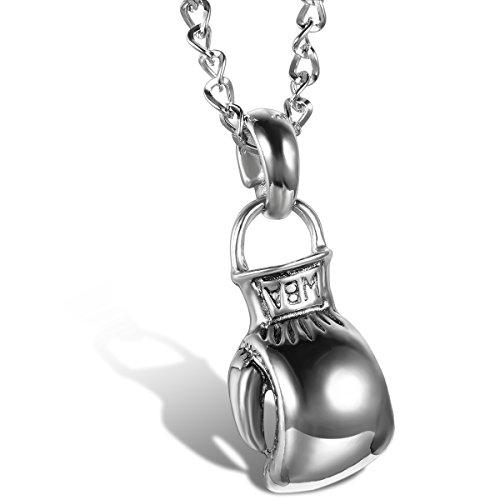 JewelryWe Schmuck Legierung Herrschsüchtige Boxhandschuhe Männer Anhänger mit Halskette, Herren Kette, Silber