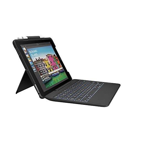 Logitech Slim Combo Cover per iPad, Layout Inglese Qwerty, Nero