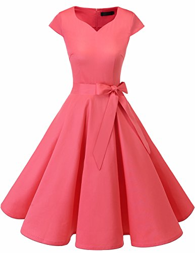Dresstells Damen Vintage 50er Cap Sleeves Rockabilly Swing Kleider Retro Hepburn Stil Cocktailkleid Pink XL