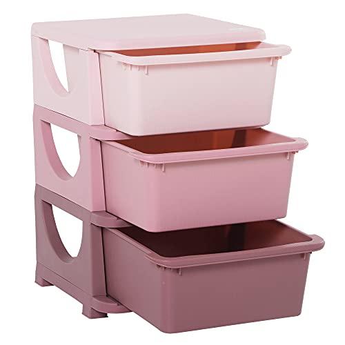 HOMCOM Torre de Almacenamiento Infantil con 3 Cajones Organizador de Juguetes para Niños +3 Años Gran Almacenaje con Asas para Juguetes Ropa Libros 37x37x56,5 cm Rosa