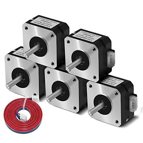Usongshine NEMA 17 Schrittmotor für Titan-Extruder 3D-Druckermotor 17HS4023 mit Draht (Schwarz, 5Pcs)