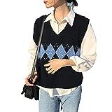 Y2k suéteres de Punto Mujeres Argyle suéteres de Gran tamaño Coreano señoras Invierno Suelto Casual Jumper 90s Manga Larga