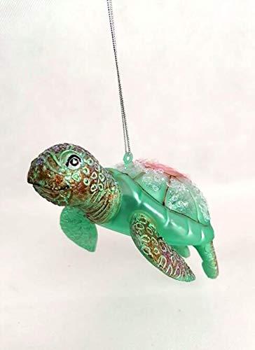 Glas Schildkröte mit Glitzer Weihnachtsschmuck Anhänger Weihnachten Dekoration Christbaumschmuck Aquarium Unterwasser Ozean Grün Pink Rosa