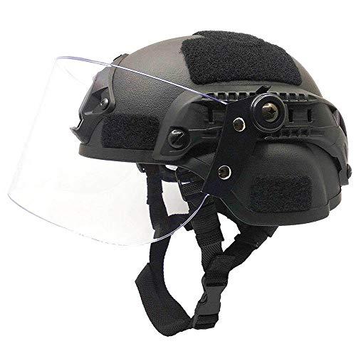 XYLUCKY Tactical Helm, Airsoft Tactical Mich 2000 Militär Paintball SWAT Police Helm mit klarer Riot Visier Gesichtsschutz Schiebebrille & Seitenschiene NVG Halterung, Schwarz