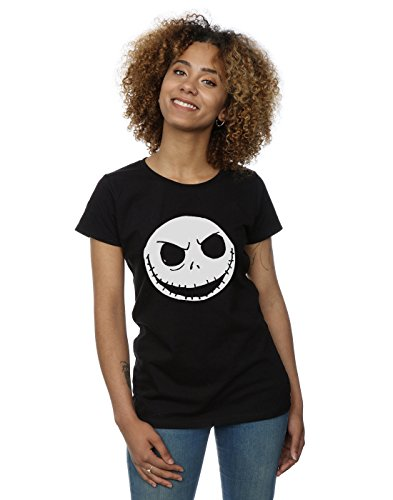 Disney Damen Nightmare Before Christmas Jack Skellington Face T-Shirt Medium Schwarz
