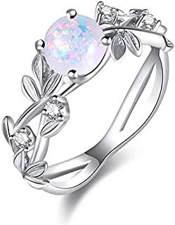 moahhally Exquisite Round Cut White Fire Opal Stone Silver Plated Flower Women Opal Rings Diamond Jewelry Birthday Proposa...